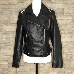 Frank Lyman black faux-leather moto jacket